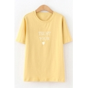 Simple Girls Short Sleeve Round Neck Letter TRUST YOUR Heart Graphic Relaxed Tee Top