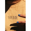 Pretty Girls Short Sleeve Crew Neck Letter SUH DUDE Print Relaxed T-Shirt