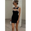 Popular Stylish Womens Sleeveless Round Neck Hollow Out Contrast Piped Mini Sheath Tank Dress in Black