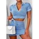 Fashionable Girls Short Sleeve Lapel Neck Button Up Striped Knitted Fit Crop Top & Mini Fitted Skirt Set