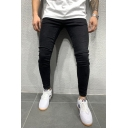 Fashionable Cool Mid Rise Solid Color Ankle Length Skinny Jeans in Black