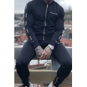 Active Mens Long Sleeve Stand Collar Zipper Front Letter Printed Slim Fitted Sweatshirt