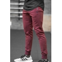 Cool Mens Drawstring Waist Zipper Pockets Cuffed Ankle Length Fitted Pants