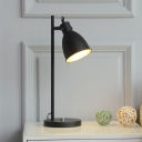 1 Light Table Lamp Vintage Bedroom Adjustable Reading Book Light with Conical Iron Shade in White/Black
