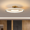 Flat Round Semi Flush Light Modern Acrylic White and Gold/Black and Gold LED Flush Mount in Warm/White Light, 18