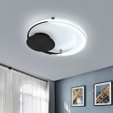 Meniscus Bedroom Flush Lighting Acrylic LED Modernism Flush Mount Ceiling Lamp in Black, 16.5