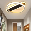 Simple Hoop Flush Lighting Acrylic LED Corridor Flush Mount Ceiling Lamp in Black/White with Arc Canopy, Warm/White Light