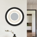 Simple LED Wall Lighting White and Black Round Flush Wall Sconce with Acrylic Shade