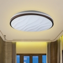 LED Bedroom Flush Light Modernist Black Flushmount with Round and Wave Acrylic Shade in Warm/White Light, 16