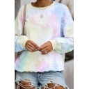 Chic Fashion Girls Long Sleeve Round Neck Tie Dye Relaxed Fit Pullover Sweatshirt in Beige