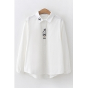 Cute Fashion Long Sleeve Lapel Collar Button Down Rabbit Embroidery Plaid Polka Dot Printed Curved Hem Loose Shirt in White