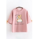 Japanese Style Cool Girls Short Sleeve Round Neck Cartoon Ladies Fan Pattern Lace Up Relaxed Tee Beautifulhalo Com