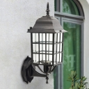 Clear Glass Black Sconce Lighting Cuboid 1 Light Countryside Wall Lamp Fixture for Outdoor