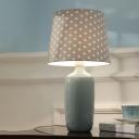 Fabric Tapered Desk Light Minimalist 1 Head Blue/Pink/Green Ceramic Designed Night Table Lamp with Dot Design