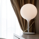 White Spherical Table Lighting Contemporary 1 Head Opal Glass Nightstand Light Nightstand Lamp for Bedside