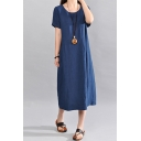 Casual Vintage Solid Color Short Sleeve Round Neck Cotton and Linen Maxi Oversize Dress for Girls