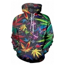 Popular Fancy Boys Black Long Sleeve Drawstring All Over Leaf Printed Relaxed Fit Hoodie with Pocket