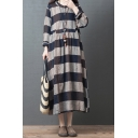Leisure Simple Womens Long Sleeve V-Neck Button Up Stripe Printed Linen Maxi Oversize Dress