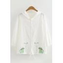 Cute Kawaii Ladies Long Sleeve Button Up Cat Embroidery Drawstring Hem Loose Fit Cardigan