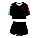 Trendy Active Girls Black Short Sleeve Round Neck Letter SHOTO Ice and Flame Graphic Relaxed Crop Tee with Shorts