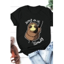 Basic Hot Sale Rolled Short Sleeve Crew Neck Letter JUST DO IT SLOWLY Sloth Graphic Regular Fit T Shirt for Girls