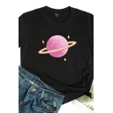 Popular Girls Rolled Up Sleeve Crew Neck Planet Patterned Regular Fitted T Shirt