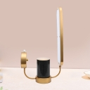 Oval Night Table Lamp Contemporary Acrylic LED Bedroom Nightstand Light in Golden