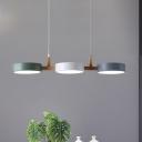 Drum Cluster Pendant Lamp Macaron Metal 3-Light Restaurant LED Hanging Light in White-Grey-Green with Wood Detail