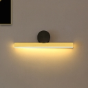 Gold Linear Wall Mounted Light Fixture Modernism LED Metal Vanity Sconce Lamp with Black Tube Backplate in White/Warm Light