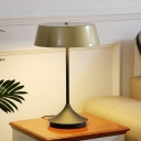 Light Brown Cone Nightstand Lamp Modern 1 Light Metal Night Table Lighting for Bedroom