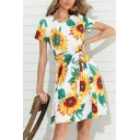 Pretty Womens Short Sleeve Round Neck All Over Sunflower Printed Bow Tie Waist Short A-Line Dress