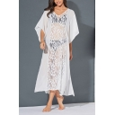 Sexy Ladies Bell Sleeve V-Neck Floral Embroidered Lace Patched Split Side Mesh Maxi A-Line Oversize Dress in White