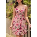 Ladies Gorgeous Sleeveless V-Neck All Over Floral Print Hollow Out Midi Pleated Cami Dress
