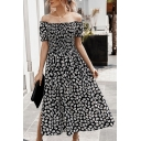 Trendy Ladies Short Sleeve Off the Shoulder Ditsy Floral Printed Slit Side Maxi Pleated A-Line Dress