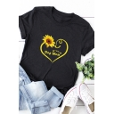 Chic Girls Rolled Short Sleeve Crew Neck Letter DOG MOM Sunflower Graphic Regular Fit T-Shirt