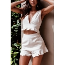 Chic Hot Girls Sleeveless V-Neck Ruffle Trimmed Fitted Crop Tank Top & Fitted Shorts Two Piece Sets in White