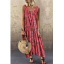 Leisure Streetwear Ladies Sleeveless Scoop Neck All Over Flower Printed Irregular Hem Maxi Pleated Swing Tank Dress