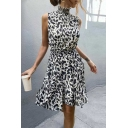 Fashionable Womens Sleeveless High Neck Leopard Patterned Short Pleated A-Line Dress in White