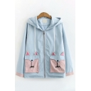 Preppy Girls Long Sleeve Hooded Drawstring Letter FOX Embroidered Flap Pocket Colorblock Loose Fit Jacket