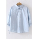Basic Womens Long Sleeve Lapel Collar Button Down Ruffled Trim Bow Tie Solid Color Loose Shirt