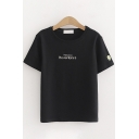 Popular Womens Short Sleeve Crew Neck Letter HUAWENYO Smile Face Embroidery Regular Fit T-Shirt