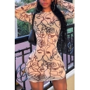 Chic Fashion Girls Long Sleeve Crew Neck All Over Cartoon Face Mini Sheath Dress in White