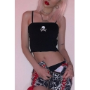 Hot Black Sleeveless Skull Printed Slim Fit Crop Cami Top for Ladies