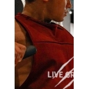 New Trendy Sleeveless Crew Neck Letter LIVE GREAT Printed Relaxed Fit Tank for Guys