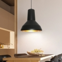 1-Light Funnel Suspension Light Industrial Black Finish Metal Hanging Pendant for Dining Room