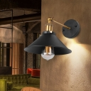 1-Head Wall Light Sconce Industrial Balcony Wall Mounted Lamp with Cone Iron Shade in Black