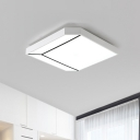Metallic Square Flushmount Modern Nordic LED White Ceiling Flush Mount in White/Warm Light, 19
