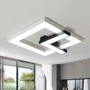 Squared Clock Flushmount Modern Metal Black and White LED Flush Mounted Light in White/Warm Light, 16.5