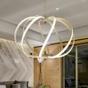 Waving Chandelier Pendant Light Modern Acrylic LED White Hanging Lamp for Living Room in White/Warm Light