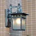 Aged Silver 1 Bulb Wall Mounted Light Rustic Translucent Glass Lantern Sconce Lamp